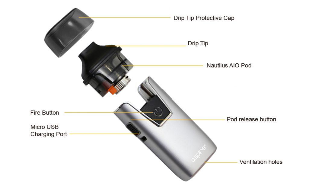 تقييم جهاز أسباير نوتيلوس AIO Aspire Nautilus AIO Kit - التصميم ٢
