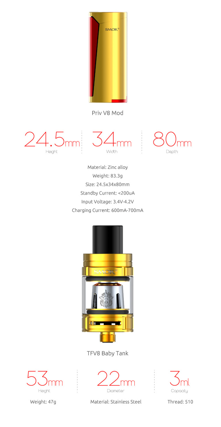 SMOK Priv V8 Kit Review - Size and weight