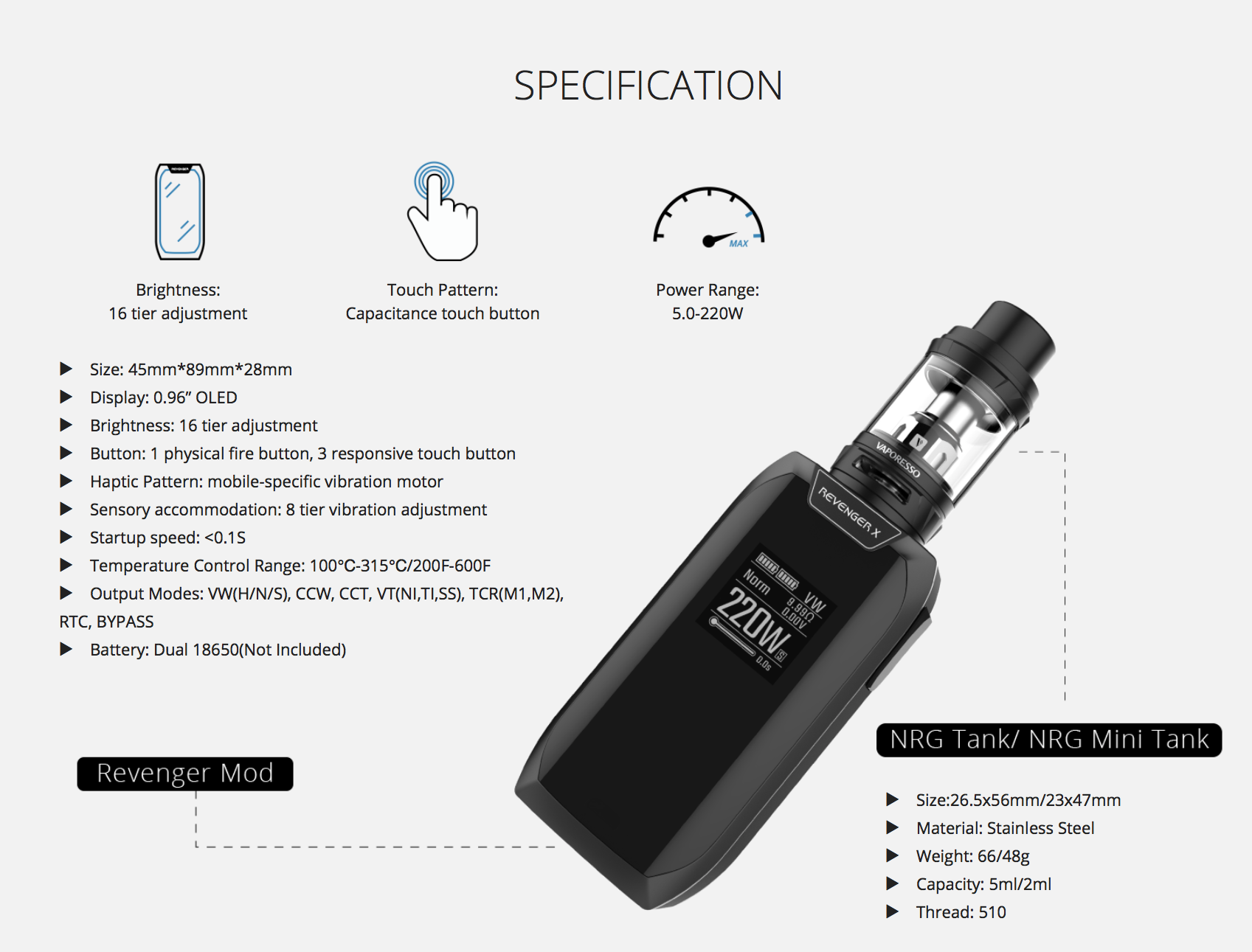 Vaporesso Revenger X Kit Review - Size and Weight